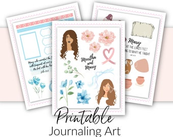 Bible Journaling Printable Kit | Martha and Mary  Devotional Theme |Scripture Journaling and Scrapbooking Art Printable