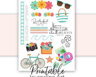 All Things Are Possible With God | Bible Journaling Printable | Bible Verse Stickers