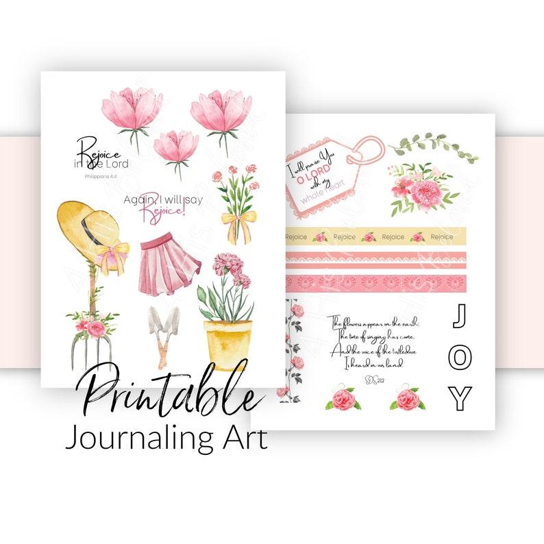 Bible Journaling Kit  Printable Spring Theme  Rejoice in the image 0