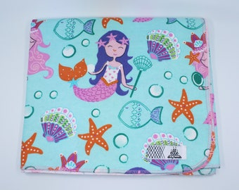 "Mermaids and Sea Life Starfish Seashells Extra Large Receiving Blanket - 36"" x 42"""