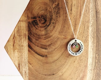 Mother's Necklace Metal Stamped Family Birthstone Children's Names Circle Pendent