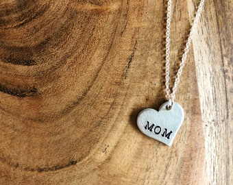 Mom Necklace Metal Stamped Heart