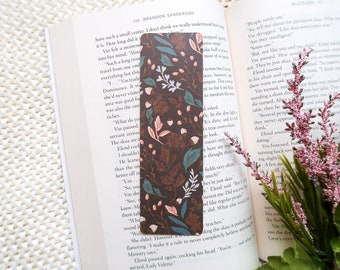 Floral Bookmark • Double-sided • 1mm thick • Handmade in Canada • Fall, Acorn, Boho, Autumn, Cute • Gift for book lover • Book accessories