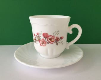 """Vintage Arcopal France """"Florentine"""" Duo - Cup and Saucer"""