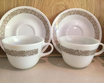 Vintage Pyrex Woodland Cups & Saucers