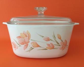Vintage Corningware 3L 'Peach Floral' Casserole Dish & Lid
