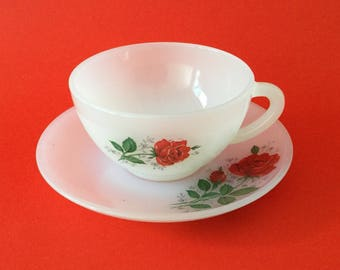 Vintage Arcopal France Duo 'Red Rose' Pattern