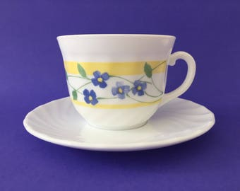 Vintage Arcopal France 'Feston Pensea' Tea Cup & Saucer