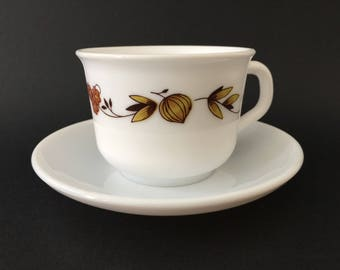 Vintage Arcopal France - Cup and saucer - Brown Onion pattern