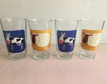Vintage 'KIG' Farm Animal Drinking Glass Set of 4