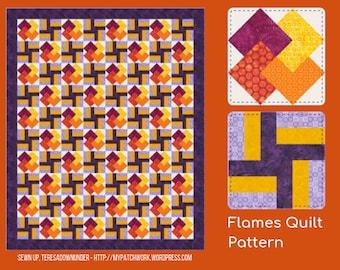 Flames quilt pattern