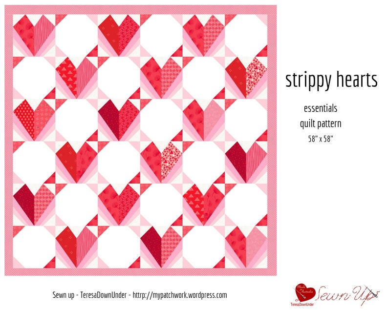 Strippy hearts quilt pattern image 0