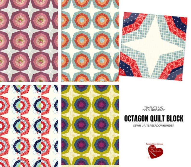 Strippy octagon quilt block image 0