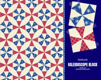 Kaleidoscope quilt block and colouring page