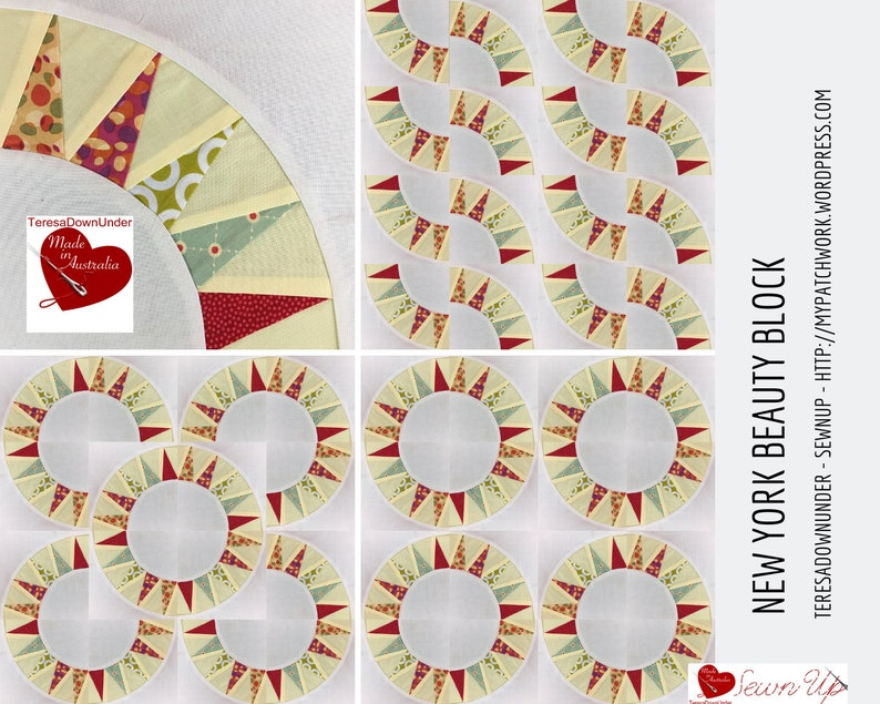 Simple New York beauty quilt block template image 0