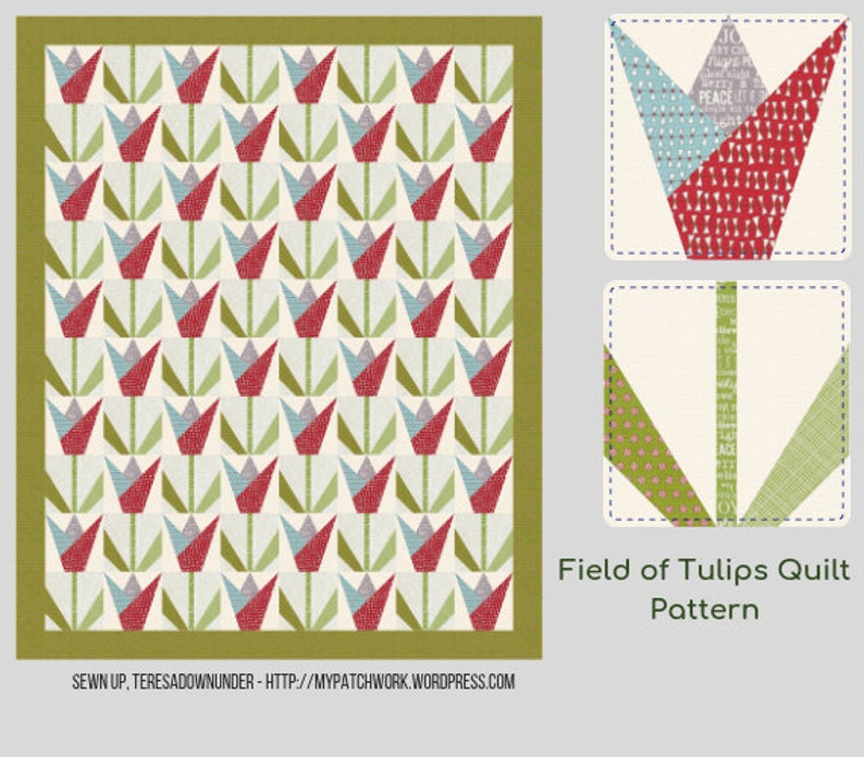 Field of tulips quilt pattern image 0