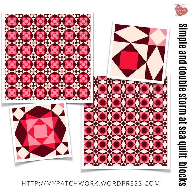Storm at sea quilt block templates  simple and double image 0