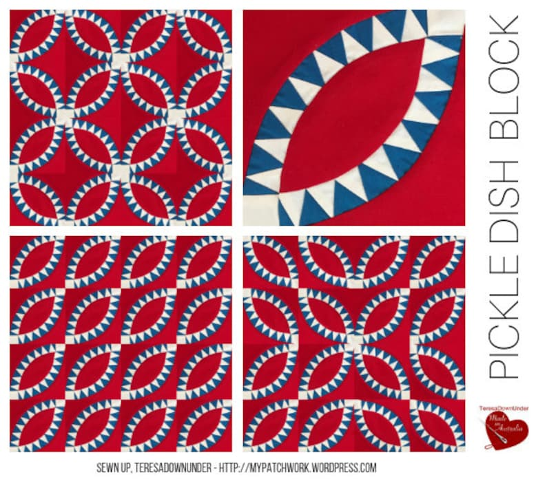 Pickle dish quilt block template image 0