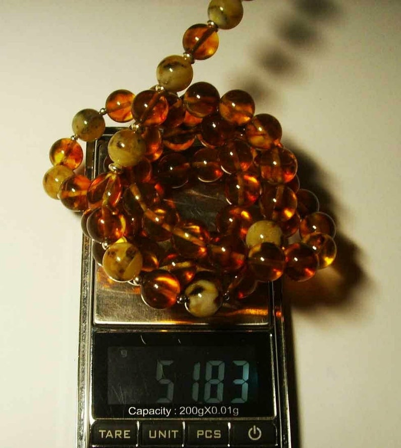 Baltic Amber Mens Necklace pressed beads silver details 51,83gr B-316