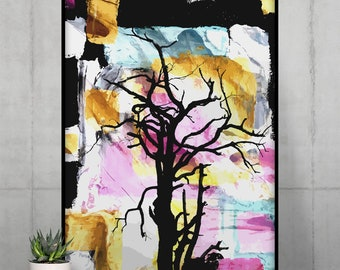 Abstract Colorful Poster   Tree Wall Art   Painting Nature Wall Decor