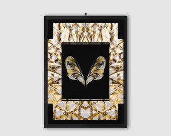 Golden Butterfly Poster   Luxury Wall Art   Golden Wall Decor