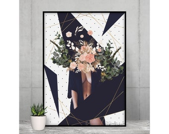 Sexy Wall Art   Geometric Abstract Poster     Contemporary Style   Woman Body Wall Decor   Sensual Photography   Modern Design for Wall