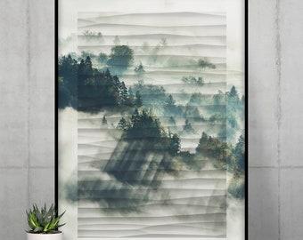 Foggy Forest Poster   Minimal Wall Art   Digital Nature Wall Decor
