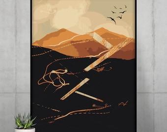 Vector Mountain Poster   Abstract Wall Art   Digital Wall Decor