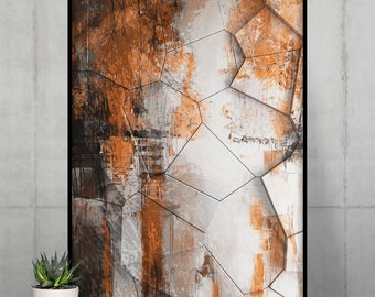 Orange Stone Wall Poster   Abstract Wall Art   Digital Wall Decor