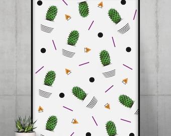 Cactus Pattern Poster   Minimal Wall Art   Graphic Cactus Wall Decor