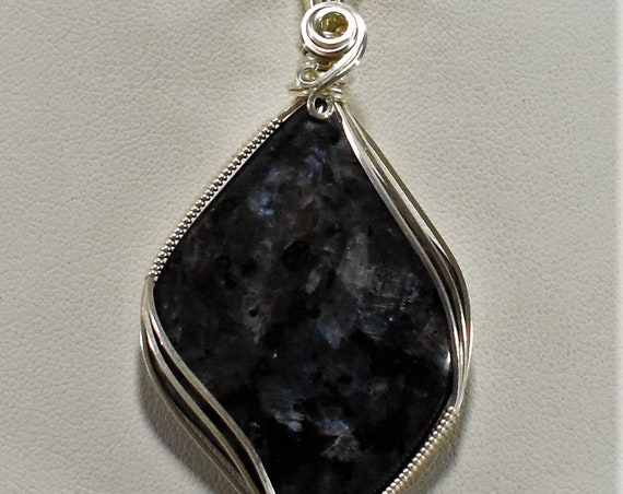 Beautiful Blue Flash Larvikite Wire Wrapped Pendant - Wrapped in .925 Sterling Silver