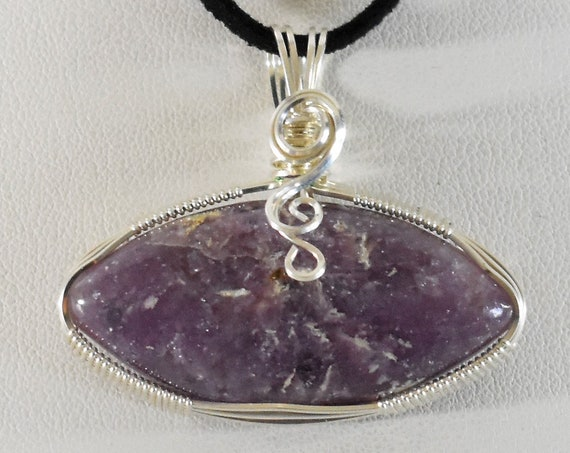 Beautiful Lilac/Violet Lapidolite With White Tourmaline Spikes Silver Wire Wrapped Pendant