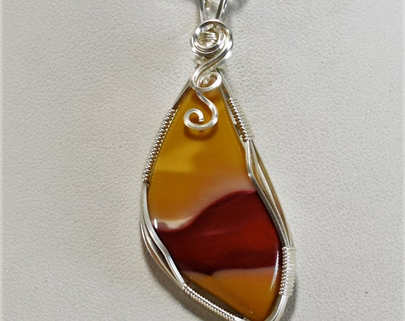 Beautiful Mookaite Wire Wrapped Pendant-Wrapped in .925 Sterling Silver