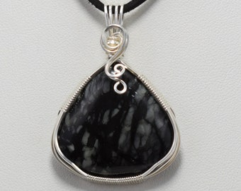 Stunning Black Serpentine Wire Wrapped Pendant - Wrapped in .925 Sterling Silver