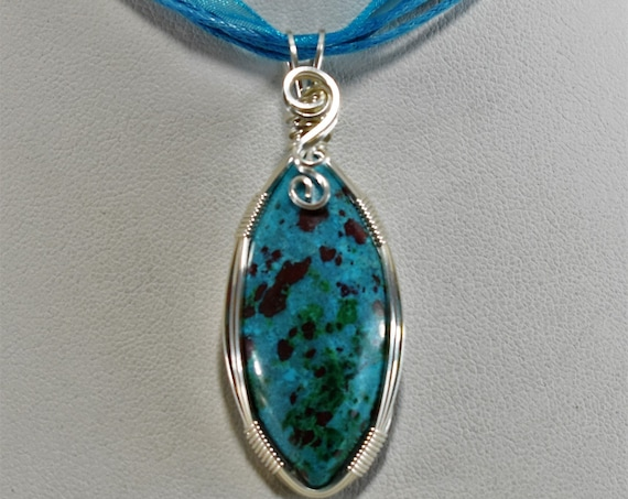 Gorgeous Chrysocolla, Malachite & Cuprite Wire Wrapped Pendant-Wrapped in .925 Sterling Silver
