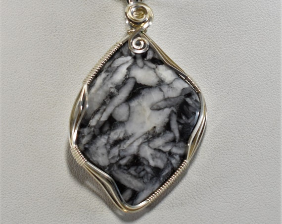Unique and Gorgeous Pinolith Wire Wrapped Pendant - Wrapped in .925 Sterling Silver