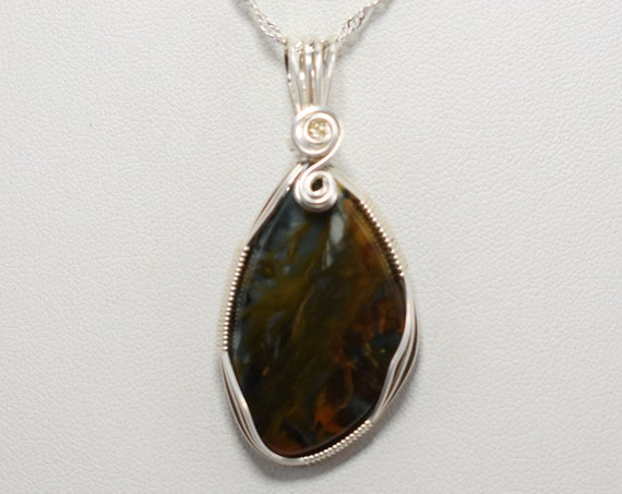 Beautiful Morrisonite Wire Wrapped Pendant - Wrapped in .925 Sterling Silver Wire