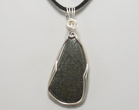 Lovely Marcasite Wire Wrapped Pendant-Wrapped in .925 Sterling Silver Wire