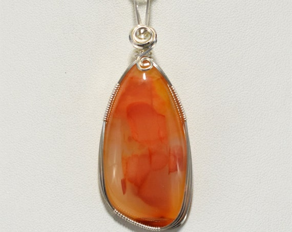 Beautiful Multi-Colored Carnelian Wire Wrapped Pendant-Wrapped in .925 Sterling Silver Wire