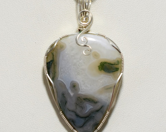 Gorgeous Moss Agate Silver Wire Wrapped Pendant