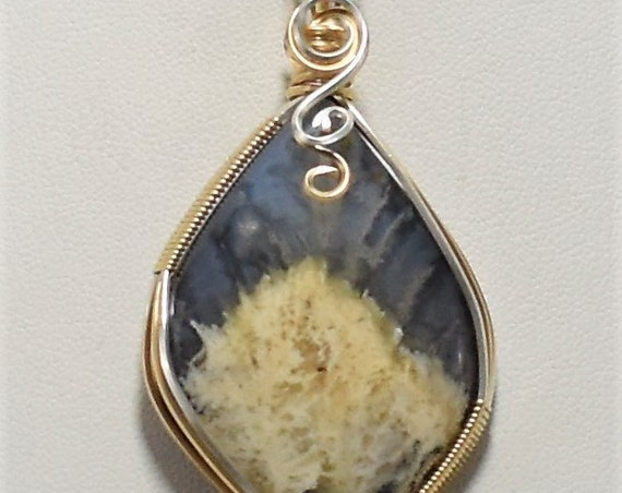 Gorgeous Oregon Plume Agate Doublet-Wrapped in 14k Gold Filled and .925 Sterling Silver Wire
