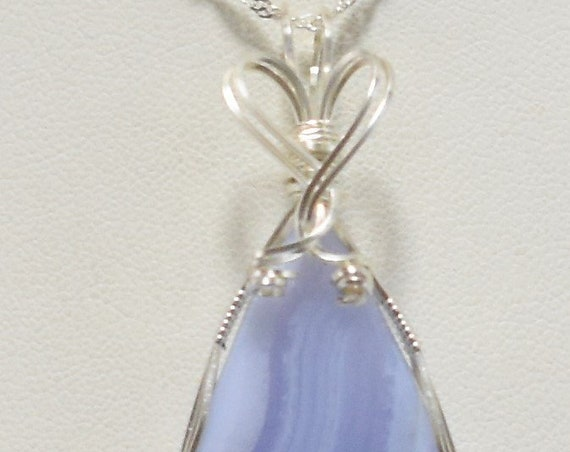 Beautiful Blue Lace Agate Wire Wrapped Pendant - Wrapped in .925 Sterling Silver