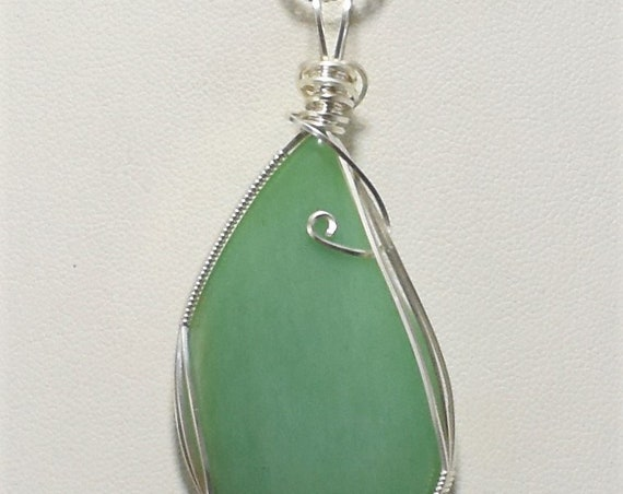 Beautiful Adventurine Silver Wire Wrapped Pendant