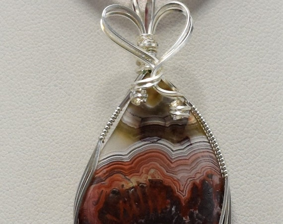 Beautiful Crazy Lace Agate Wire Wrapped Pendant - Wrapped in .925 Sterling Silver