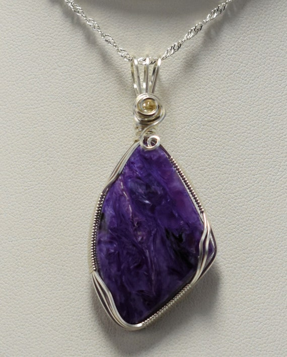 Stunning Russian Charoite Wire Wrapped Pendant-Wrapped in .925 Sterling Silver