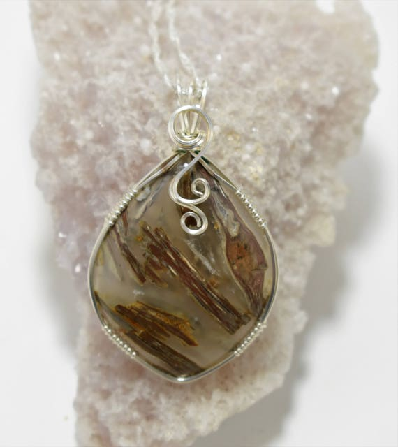 Beautiful Stick Agate Wire Wrapped Pendant - Wrapped in .935 Argentium Silver