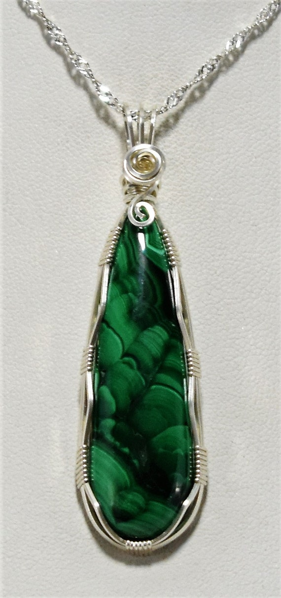 Gorgeous and Elegant Malachite Wire Wrapped Pendant-Wrapped in .925 Sterling Silver