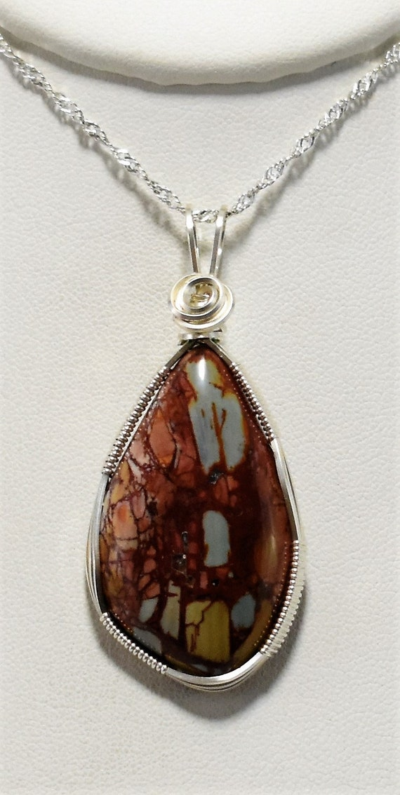 Stunning Multi-Color Dead Camel Jasper Wire Wrapped Pendant-Wrapped in .925 Sterling Silver