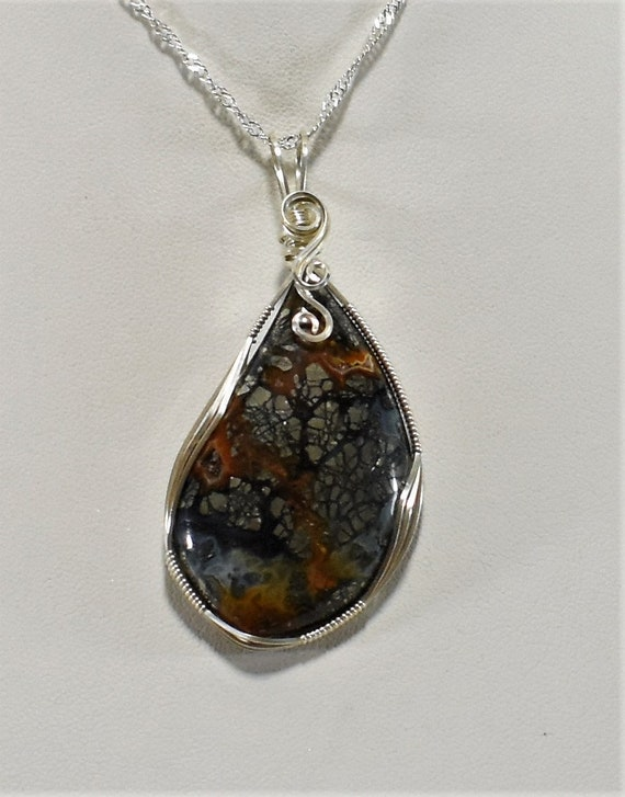 Stunning Marcasite Wire Wrapped Pendant-Wrapped in .925 Sterling Silver Wire