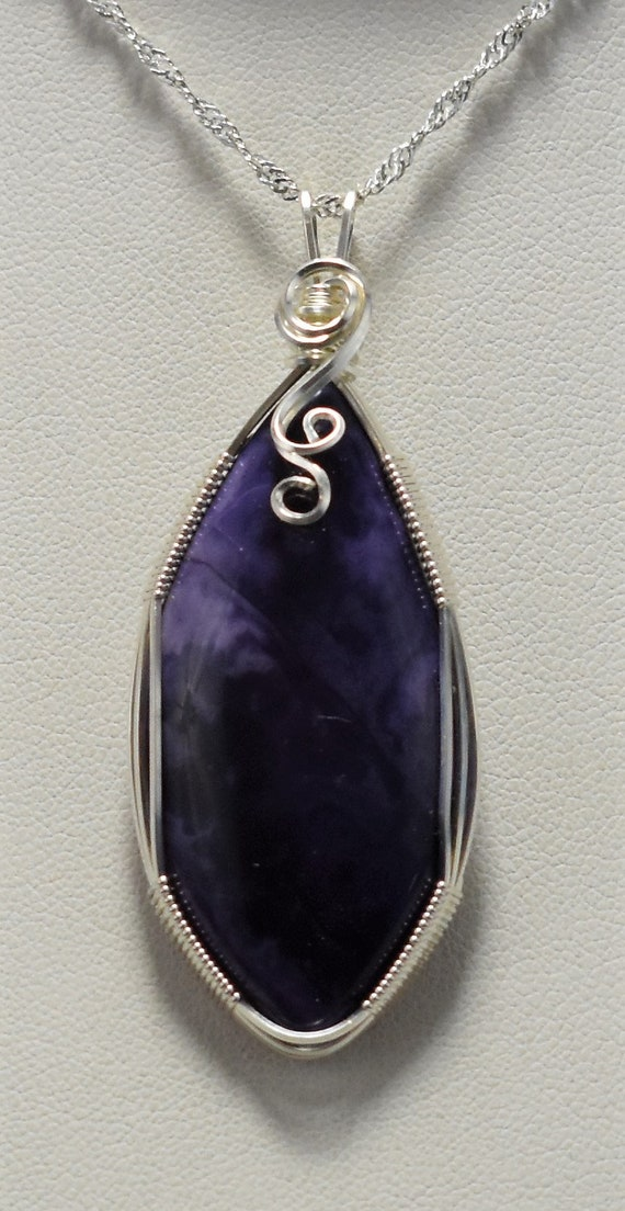 Beautiful Deep Purple Tiffany Stone (Bertrandite) Wire Wrapped Pendant - Wrapped in .925 Sterling Silver